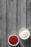Dipping Sauces on the Table with Copy Space Stock Photos