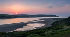 Dipping Sun, Camel Estuary, Cornwall royalty free stock image