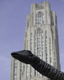 Dippy and Cathedral of Learning Stock Image