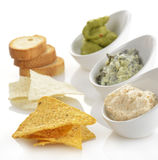 Dips With Chips And Toasts Stock Image