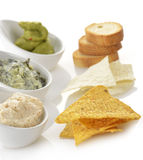 Dips With Chips And Toasts royalty free stock photo