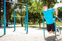 Dips exercise outdoor. Stock Images