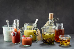Dips and marinades in all kinds of flavors Stock Image