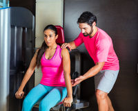 Dips press machine for triceps woman workout Stock Image
