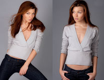 Diptych Of Fashion Model Stock Image
