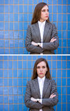 Diptych of portraits woman near the blue wall Royalty Free Stock Images