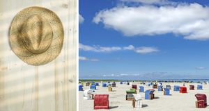 Diptych summer travel and vacation concept Stock Photography