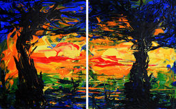 Diptych Trees Painting. Abstract expressionist trees paintings. Two piece set also known as a diptych or pair Stock Image