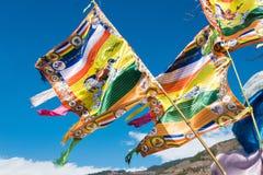 DIQING, CHINA - 17 DE MARÇO DE 2015: Bandeira da oração em Cizhong um si famoso Fotografia de Stock Royalty Free