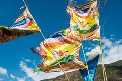 DIQING, CHINA - 17 DE MARZO DE 2015: Bandera del rezo en Cizhong un Ti famoso Foto de archivo libre de regalías