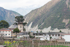 DIQING, CHINA - 17. MÄRZ 2015: Cizhong-Dorf ein berühmter Tibetaner V Lizenzfreie Stockfotografie