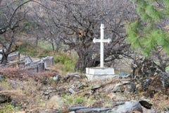 DIQING, CHINA - 17. MÄRZ 2015: Der katholische Kirchhof bei Cizhong A Stockbild