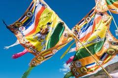 DIQING, CHINA - 17. MÄRZ 2015: Gebetsflagge bei Cizhong ein berühmtes Ti Lizenzfreie Stockfotografie