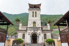 DIQING, CHINA - MAR 17 2015: The Catholic church of Cizhong. a f Royalty Free Stock Images