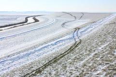 Dique nevado com um teste padrão de trilhas do trike fotografia de stock royalty free