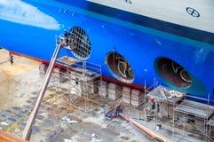 Dique seco del barco de cruceros Fotografía de archivo