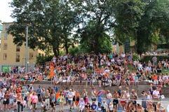 Diques em bicicletas no orgulho julho 31 de Éstocolmo da parada - 5 august, 2012 Imagem de Stock Royalty Free