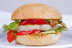 Diríjase la hamburguesa cocinada con el pavo, aguacate, lechuga, cebollas, pimienta roja de la paprika en un bollo de la semilla  Imagen de archivo libre de regalías