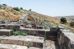 Dir阿齐兹犹太教堂的废墟,修造在拜占庭式的期间,在6世纪广告初 它位于Gol 库存图片