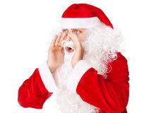 Dire ad alta voce di grido forte del Babbo Natale a qualcuno Fotografia Stock Libera da Diritti