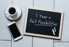 Dire di concetto della lavagna o della lavagna - 1 anno = 365 Possibili Fotografia Stock