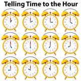 Dire le temps à l'heure sur l'horloge jaune illustration de vecteur