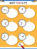 Dire tempo con attività educativa dell'orologio royalty illustrazione gratis