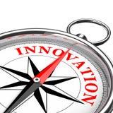 Dirección al primer conceptual del compás de la innovación representación 3d Foto de archivo libre de regalías