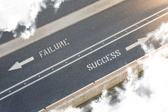 Dirección de la calle del éxito del fracaso Fotografía de archivo libre de regalías