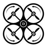 Dirección del quadcopter del abejón del símbolo del negro de la rotación Fotografía de archivo libre de regalías