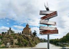 Dirección a diversos lugares en Tbilisi, Georgia Fotografía de archivo libre de regalías