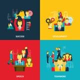 Dirección en los iconos del negocio fijados Imagen de archivo libre de regalías
