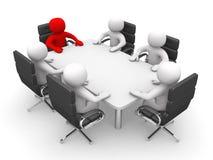 Dirección y personas en la mesa de reuniones - 3d rinden Imagenes de archivo