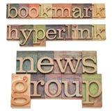 Dirección de la Internet, enlace hipertexto y groupe informativo Imagen de archivo libre de regalías