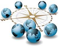 Direcciones globales de la tierra de las puntas de compás libre illustration