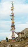 Direcciones masivas del poste indicador del mundo de Falkland Islands - Stanley Fotografía de archivo libre de regalías