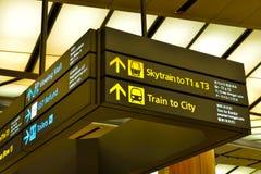 Direcciones para los pasajeros en el aeropuerto internacional Imagen de archivo libre de regalías