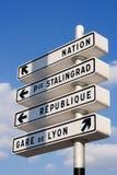 Direcciones parisienses Foto de archivo