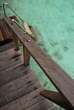 Direct Access to Crystal Clear Water from your Private Overwater Bungalow Stock Images