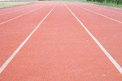 Direct athletics Running track. At Sport Stadium Stock Photos