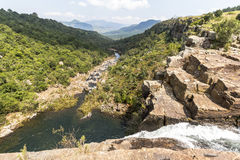 Direct at the Berlin Falls in Blyde River area, South Africa Royalty Free Stock Photos