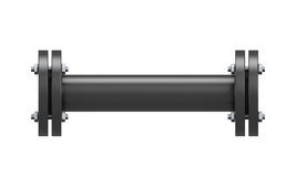 Direct connection portion of the black pipe Stock Photography