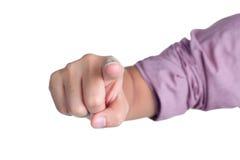 Direct de posture de signe de main d'isolement Photos stock