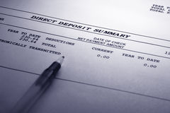 Direct Deposit Summary Royalty Free Stock Images