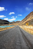 Direct dirt road along the Lake Pehoe Stock Image