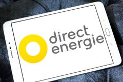 Direct Energie company logo. Logo of Direct Energie company on samsung tablet. Direct Energie is a French international electric utility company, which operates stock photos