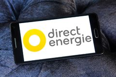 Direct Energie company logo. Logo of Direct Energie company on samsung mobile. Direct Energie is a French international electric utility company, which operates royalty free stock photos