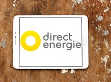 Direct Energie company logo. Logo of Direct Energie company on samsung tablet on wooden background. Direct Energie is a French international electric utility stock photos