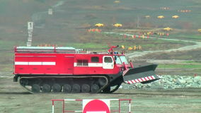 Direct fire suppression vehicle MPT-521 moves stock video footage