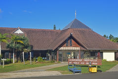 Direct front view of Airport of Ile Des Pins Island, New Caledonia Royalty Free Stock Images